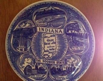 Circa 1950 Indiana state attractions commemorative plate