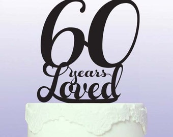Beautiful 60th Cake Topper