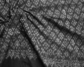 """Handwoven Mudmee 100% Cotton from Thailand. Black and silver. 1.75 metres/ 70"""""""