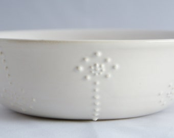 SALE White Bowl with Floral Detail