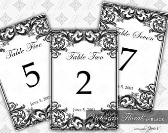 DIY Printable Wedding Table Number Template | Printable Table Setting Décor | Victorian Florals in Black