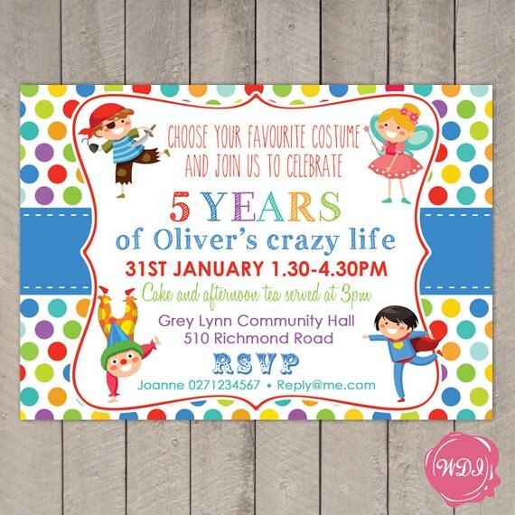 Boys Birthday Party Invite Fancy Dress Costume Party