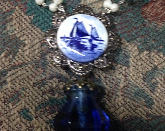 DUTCH WINDMILL royal blue beaded vintage assemblage necklace, glass knob; upscaled,repurposed,mixed media,altered art