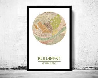 BUDAPEST - city poster - city map poster print