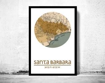 SANTA BARBARA CA - city poster - city map poster print