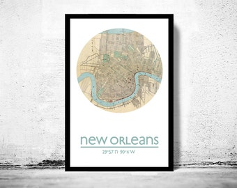 NEW ORLEANS - city poster - city map poster print