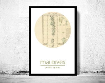 MALDIVES - city poster - city map poster print