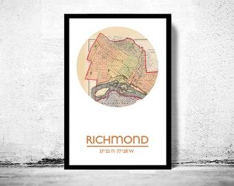 RICHMOND VA - city poster - city map poster print
