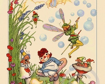 Whimsical Raggedy Ann and Fairies Print, toadstool houses, dressed bugs, fantasy forest, fairy, castle , Giclee Art Print, 11x14 ,1920s