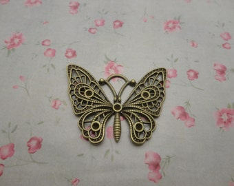 2 colors choice , set of 50 , metal butterfly charm , metal butterfly pendant , 48x36mm , MPC3653-50