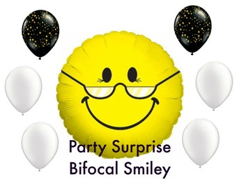 Bifocal Smiley Balloon Package, Granny Balloons, Grampa Balloons, Over the Hill Balloons, Retirement Balloons, Birthday Balloons