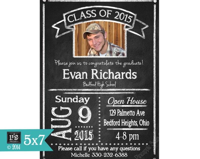 Printable Chalkboard Graduation Invitation Rustic Style Photo Grad Invite - DIY - Print as many as you need