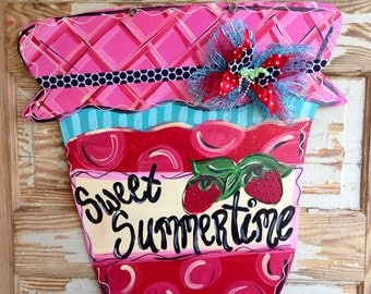 Spring Summer Strawberry Jam Door Hanger