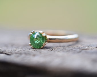 TOURMALINE ring, natural green tourmaline engagement ring, green engagement ring, gold ring, free resize, size 5 6 7 8 9 10 11, ExquisiteGem