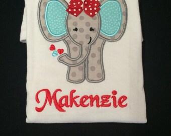 Baby Girl or Baby Boy Appliqued Elephant Bodysuit Toddler Boy Tshirt Toddler Girl Tshirt Appliqued Elephant