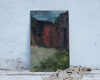 Narrow houses Abstract Original Oil Painting MDF board.