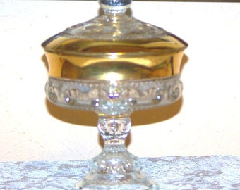 Rare Vintage Gold Crystal Kings Crown Indiana Carnival Glass Compote/Candy Dish with Lid, 1970s