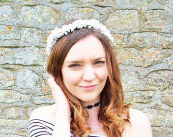 Maggie Gypsophila Floral Crown (White)
