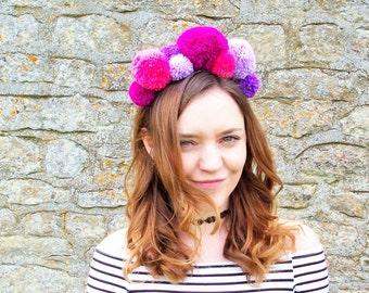 Jessie Pom Pom Headband - Pinks