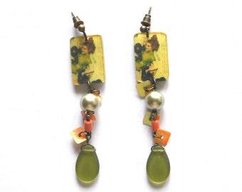 Vintage Green Dangle Earrings - Mixed Beaded Dangles, Long Beaded Earrings - Cascade OOAK Statement Earrings