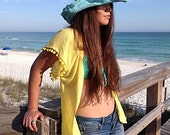 Beach cover up, Short coverup with Pom poms, swimsuite coverup, gauze cotton coverup, resort wear, kimono beach cover up, Lots of colors