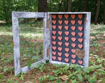 Rustic Wedding 3D Paper Heart Shadow Box Guest Book, Guest Book Alternative, Personalized Guest Book, Bridal Shower Gift