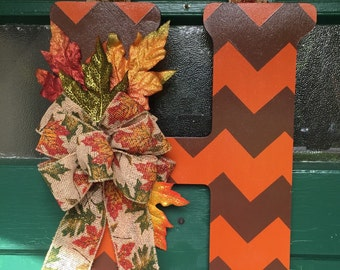 Fall Chevron Monogram Door Hanger with Fall Leaves and Burlap Bow