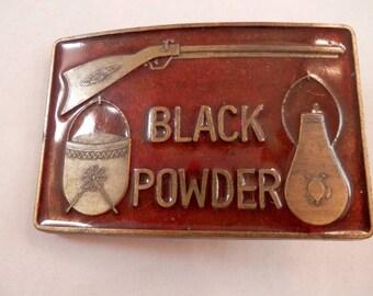 Black Powder Pouch Musket Rifle Red Enameled belt buckle Belt Buckle RJ