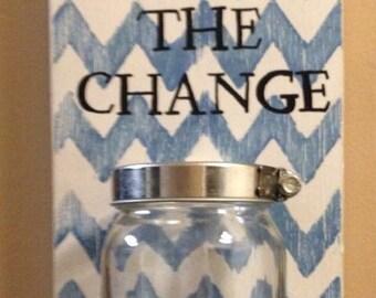 Keep the change, mason jar, laundry room decor, chevron keep the change, coin jar, loose change jar, funds jar, mason jar decor, coin holder