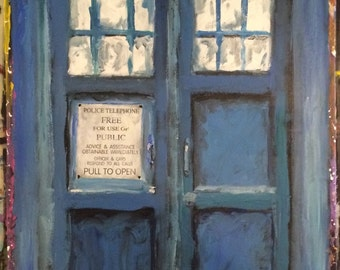 "TARDIS - 48"" x 24"" mixed media. On canvas"