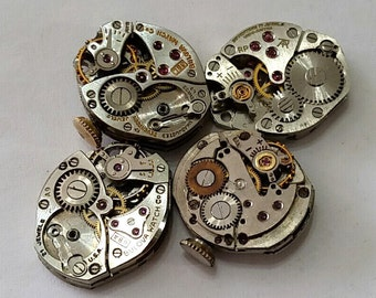 Vintage Wristwatch Movements, Lot of 4, two are Bulova - Steampunk, Altered Art, Assemblage Supplies - no dials