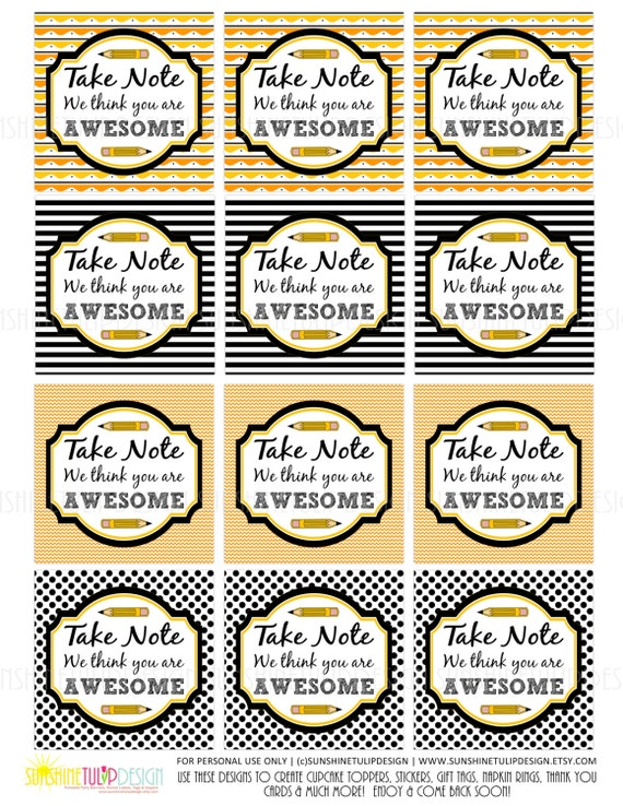 Teacher appreciation tags printable take note you are awesome gift il570xn negle Image collections