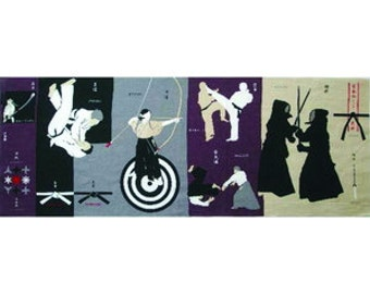 Tenugui book, martial arts, Japan budo, Judo, Kendo, Kyudo, wrapping cloth, Japanese cotton fabric,  tapestry, Made in Japan, Free shipping
