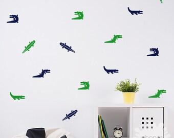 Alligator Wall Decal /  24 Alligators wall Decal / Alligator Sticker / modern wall decal
