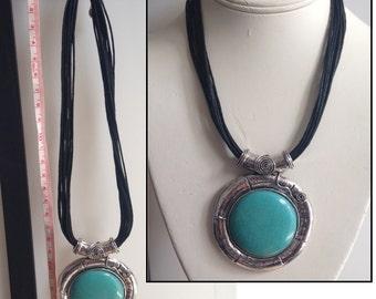 Sales: Turquoise Round Pendant  necklace