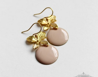 Ich bin Luxus - 'Emaille for YOU - powder nude' orchid earrings