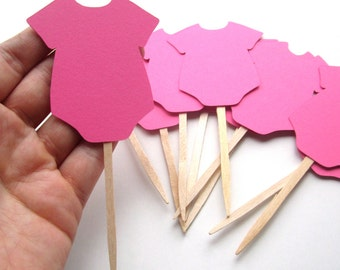 onesie cupcake toppers baby shower cupcake toppers pink diy baby shower decorations