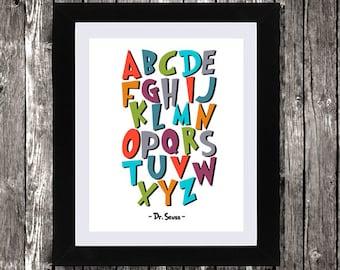 """Dr Seuss ABC Wall Art, Instant Download, Dr Seuss Alphabet, Dr Seuss Nursery Decor, Dr Seuss poster, Kids room alphabet, Wall Art, 8 x 10"""""""