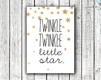 Nursery Art Printable, Gold, Stars, Twinkle Twinkle, Little Star, Printable Art, Nursery Art, Instant Download, Size 5x7 #343
