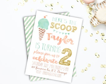 Birthday Party invitations, Summer Birthday Invitation, Printable, Ice Cream, First Birthday, Second Birthday, Sizes 4x6 or 5x6 #10