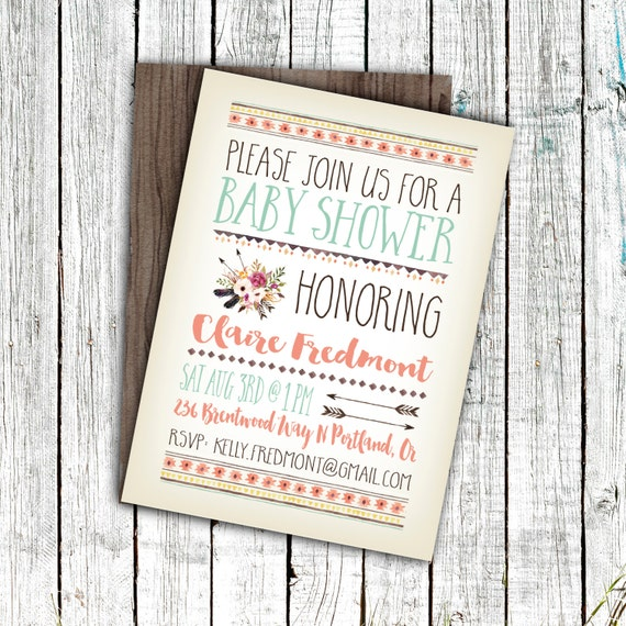 Baby Shower Printable, Boho Baby Shower, Aztec, Arrows, Tribal, Size 4x6 or 5x7 #11