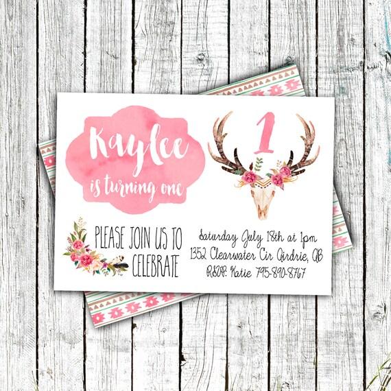Birthday Invitation- Digital File or Printed- Little girl, boho, deer head, pink, watercolor, modern, feminine, floral #19