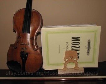 Cello bridge music book holder, musician, music gift, violin, viola, bass, musical instrument kitchen collectible, napkin holder, music art