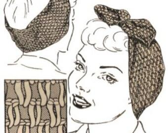 Vintage 1940s  Crochet Turban Rosie Riveter Head Wrap Pattern WWII Digital Download