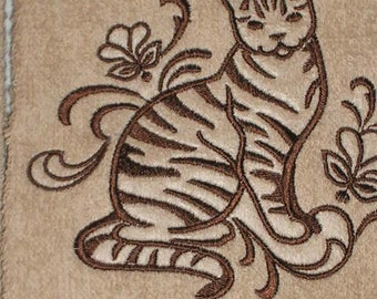 Tabby Cat EMBROIDERED Pair of 15 x 25 inch hand towels for kitchen / bath