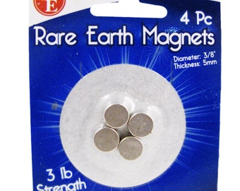 4pc Rare Earth Magnet Set 3lb Strength for Refrigerator and Organization Crafts
