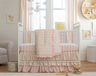 Girl Baby Crib Bedding: Pale Pink and Gold Chevron 3-Piece Crib Bedding Set by Carousel Designs