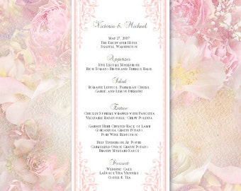 "Printable Wedding Menu Template in ""Maria"" Pink 