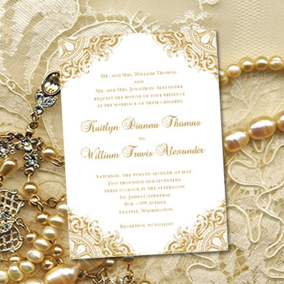 Gold Vintage Wedding Invitations Or 50th Wedding
