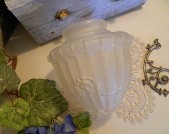 Vintage Art Nouveau Clear Frosted Glass Ceiling Light Shade
